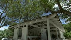Tilt to small beach cafe Stock Footage