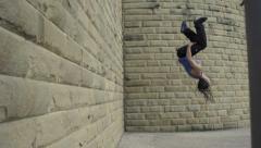 Backflip off a wall - stock footage