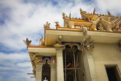 unfinished thai temple, pariwart temple, bangkok, thailand - stock photo