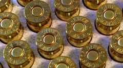 Extreme Close Up .45 Caliber Bullets In Box Slow Pan - stock footage