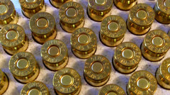 Extreme Close Up .45 Caliber Bullets In Box Slow Zoom Stock Footage