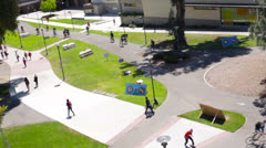 Student Commute on University Campus Bird's Eye View Stock Footage