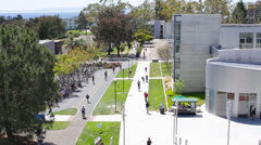 University Campus with Ocean in Background Bird's Eye View Stock Footage