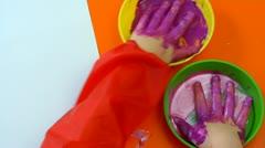 Child handprints Stock Footage
