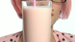 Pink milk - stock footage