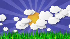 Animation of clouds and sun with star-burst and grass - stock footage