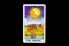 tarot card the moon - stock photo