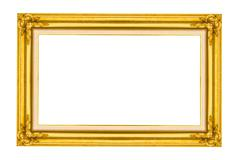 Golden wood picture frame Stock Photos