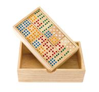 Wooden domino in box Stock Photos