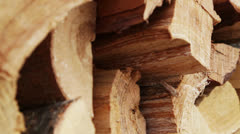 Pile of wood, Firewood to cold winter - stock footage