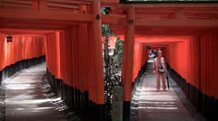 Fushimi Inari Shrine Tori Gate walkways Stock Footage