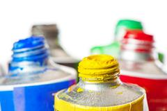 Tubes of oil paint open in conjunction Stock Photos