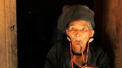 Ann Tribe woman, Myanmar - stock footage