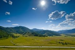 The road in the mountains. altai mountains. russia. Stock Photos