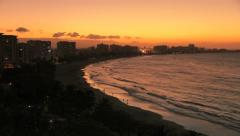 Beautiful Timelapse Sunrise over Beach, Ocean and Hotels - stock footage