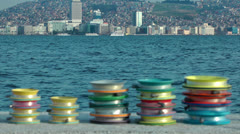 Fishing lines and the city Stock Footage