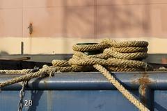 Bitt and ropes - stock photo
