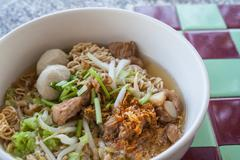 Noodle pork stew and meatball. Stock Photos
