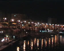 Nile river at night in Aswan, Egypt Stock Footage