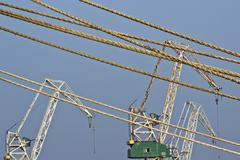 Cranes and ropes - stock photo