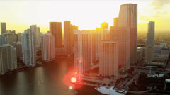 Aerial view sunset Miami office buildings, Florida Stock Footage