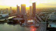 Aerial view AmericanAirlines Arena, Miami Stock Footage