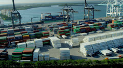 Aerial view PortMiami Container port, USA Stock Footage