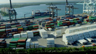 Stock Video Footage of Aerial view PortMiami Container port, USA