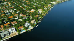 Aerial view West Islands Park, Miami Stock Footage