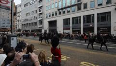 Margaret Thatcher's coffin passes crowds on the streets of London Stock Footage