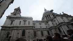 Crowds outside St Paul's Cathedral at Margaret Thatcher's funeral Stock Footage