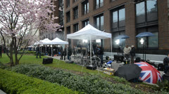 Media tents at Margaret Thatcher's funeral Stock Footage