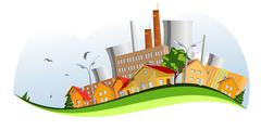 Factory in the city. abstract concepts Stock Illustration