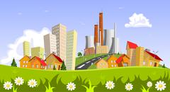 factory in the city. abstract concepts - stock illustration