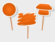 Stock Illustration of vector orange label with stick