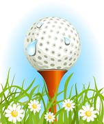 Stock Illustration of golf ball on the grass