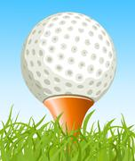 golf ball on the grass - stock illustration
