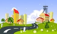 Mining town, vector Stock Illustration