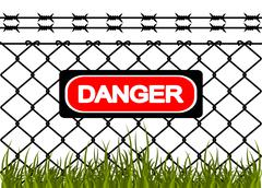 wire fence with barbed wires. vector illustration - stock illustration