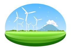 Stock Illustration of wind turbine. concept of ecology and environment.
