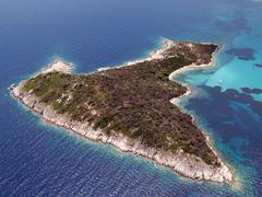 Aerial view of small island Stock Photos