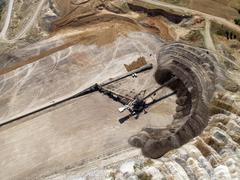 aerial view of coal mine transfer belt - stock photo