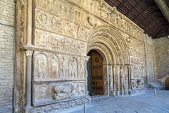ripoll monastery original facade - stock photo