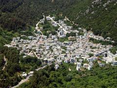 Aerial view of mountainous greek village. Stock Photos