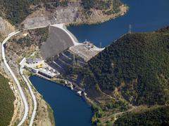 aerial view of river dam - stock photo