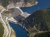 Stock Photo of aerial view of river dam