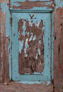 Weathered old blue wooden frame Stock Photos