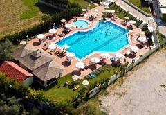 swimming pool, aerial view - stock photo
