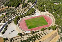 Rural athletic center, aerial view. Stock Photos