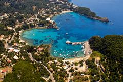 palaiokastritsa bay in corfu, aerial view. - stock photo